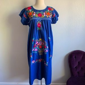 Stunning blue floral embroidered Mexican dress L